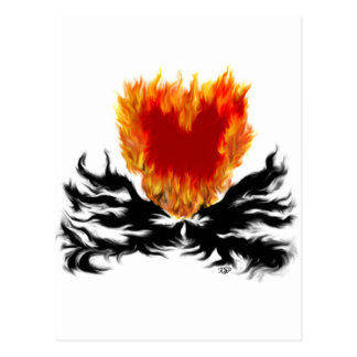 Heart in flames postcard