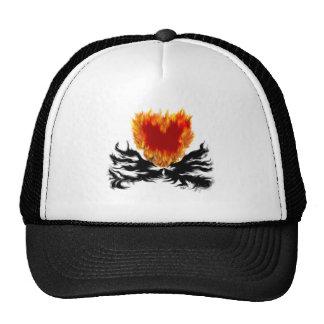 Heart in flames trucker hat