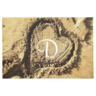 Beach Themed Heart in golden sand photo custom monogram doormat