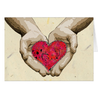 Heart in Hands Valentine Love Card