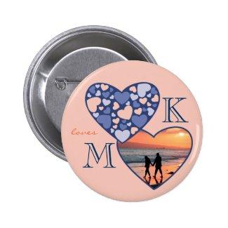 Heart in Heart Customizable Photo Frame Blue Peach Button