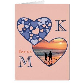 Heart in Heart Customizable Photo Frame Blue Peach Cards