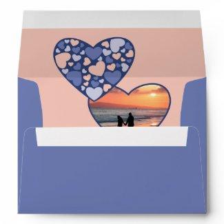 Heart in Heart Customizable Photo Frame Blue Peach Envelopes