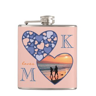 Heart in Heart Customizable Photo Frame Blue Peach Hip Flasks