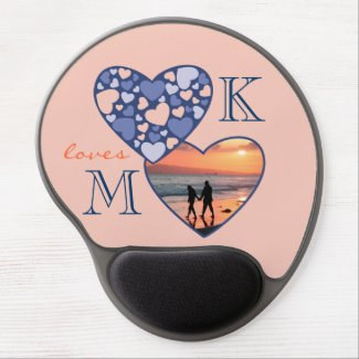 Heart in Heart Customizable Photo Frame Blue Peach Gel Mouse Pad