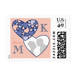 Heart in Heart Customizable Photo Frame Blue Peach Postage
