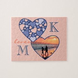 Heart in Heart Customizable Photo Frame Blue Peach Jigsaw Puzzles