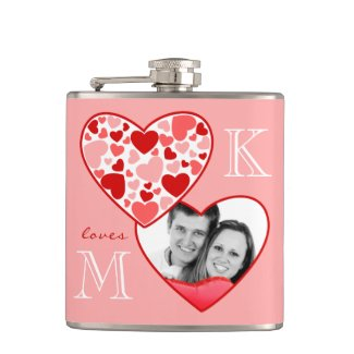 Heart in Heart Customizable Photo Frame Red Pink Flask