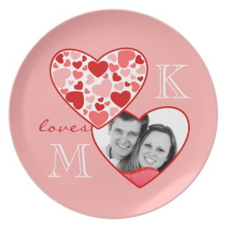 Heart in Heart Customizable Photo Frame Red Pink Party Plates