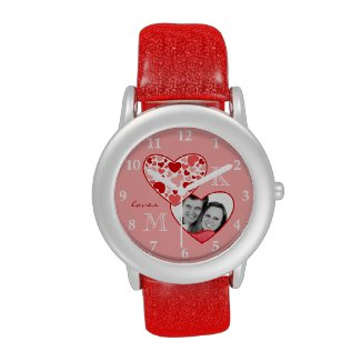 Heart in Heart Customizable Photo Frame Red Pink Wristwatch