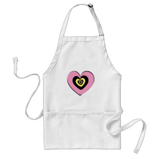 Heart in Heart - Yellow Orange Pink Adult Apron