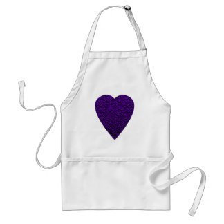 Heart in Purple Colors. Patterned Heart Design. Adult Apron