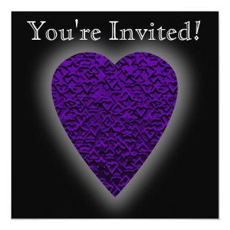 Heart in Purple Colors. Patterned Heart Design. Card