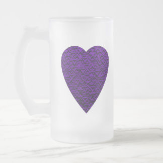 Heart in Purple Colors. Patterned Heart Design. Frosted Glass Beer Mug