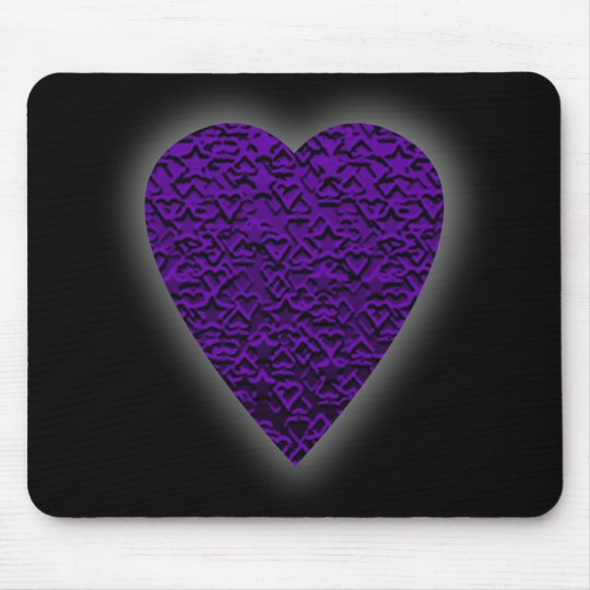 Heart in Purple Colors. Patterned Heart Design. Mouse Pad