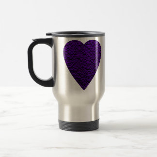 Heart in Purple Colors. Patterned Heart Design. Travel Mug