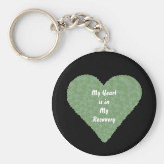 Heart in Recovery flower heart keychain