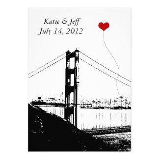 Heart in San Francisco Golden Gate Bridge Personalized Invites