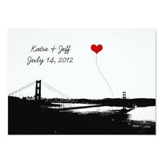 Heart in San Francisco Golden Gate Bridge Invitations