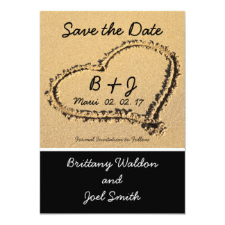Heart in Sand Beach Save the Date Cards | Initials Custom Invitations