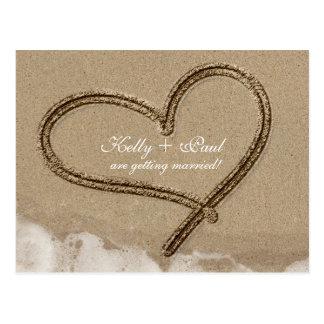 Heart in Sand Beach Tropical Wedding Date Postcard
