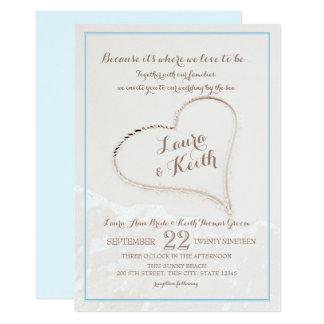 Heart in Sand Beach Wedding Card