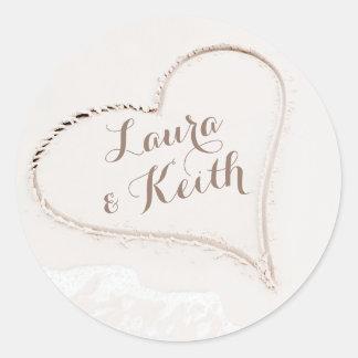 Heart in Sand Beach Wedding Classic Round Sticker