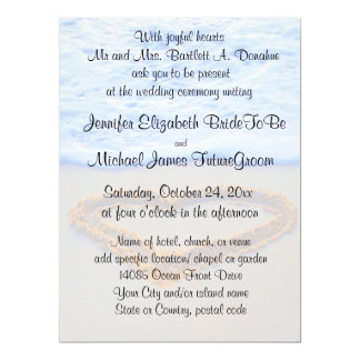 Heart in  Sand Beach Wedding 6.5x8.75 Paper Invitation Card