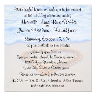 Heart in Sand Beach Wedding with RSVP Personalized Announcement