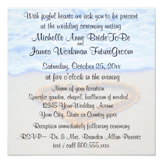 Heart in Sand Beach Wedding with RSVP 5.25x5.25 Square Paper Invitation Card