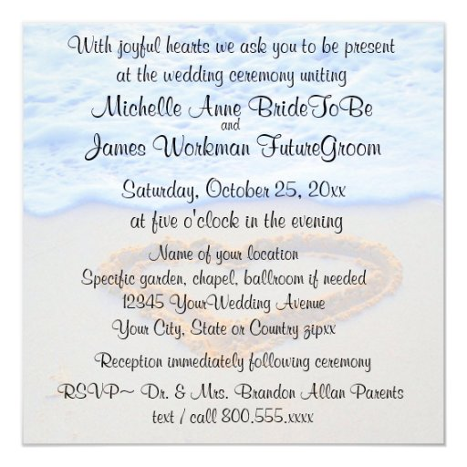 Heart in Sand Beach Wedding with RSVP Invitation
