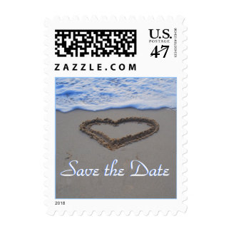 Heart in Sand Bride and Groom Postage