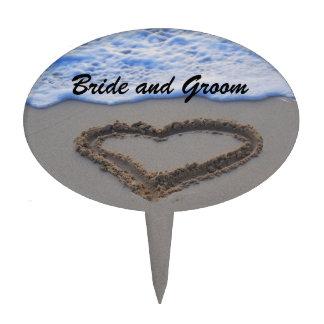 Heart in Sand Bride &Groom Cake Pick