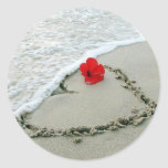Heart in sand classic round sticker
