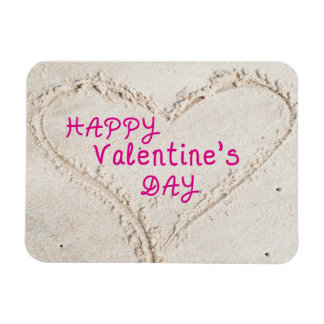 Heart in Sand Happy Valentines Day Magnet