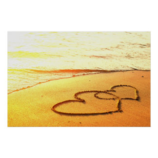 Heart in sand on a sandy beach, romantic photo poster
