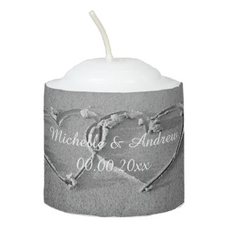 Heart in sand photo beach wedding votive candle
