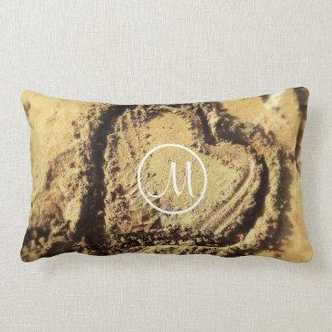 Beach Themed Heart in sand photo custom monogram lumbar pillow