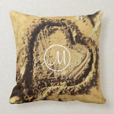 Beach Themed Heart in sand photography custom monogram pillow