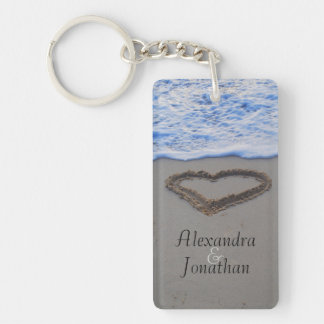Heart in Sand Romantic Keychain