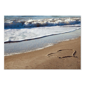 Heart in Sand RSVP 3.5x5 Paper Invitation Card