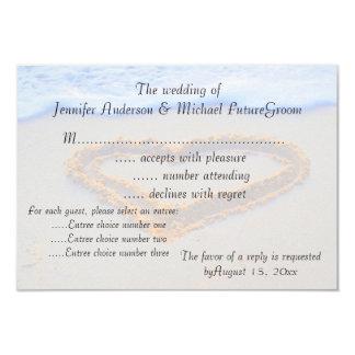 Heart in Sand  RSVP beach wedding Card