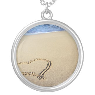 Heart in Sand Silver Plated Necklace