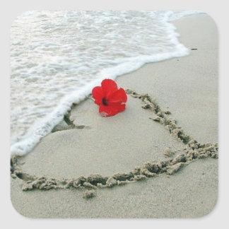 Heart in sand - square square sticker