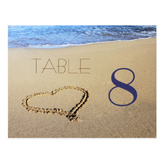 Heart in Sand Table Number Cards