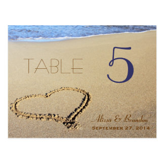 Heart in Sand Table Number Cards, Name & Date Postcard
