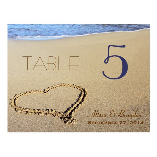 Heart in Sand Table Number Cards, Name & Date Post Card