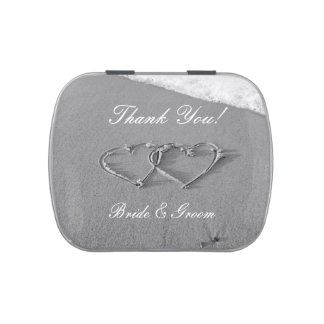 Heart in sand thank you wedding favor candy tins