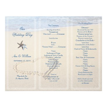 sandpiperwedding Heart in Sand Wedding Program Template, Blue