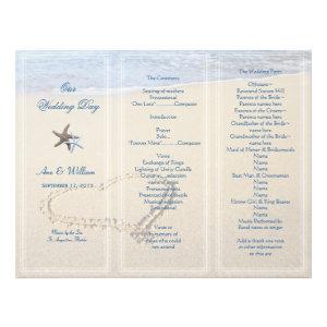 Heart in Sand Wedding Program Template, Blue Letterhead Design